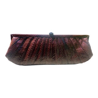 Modern Kotur Pleated Snakeskin Clutch For Sale