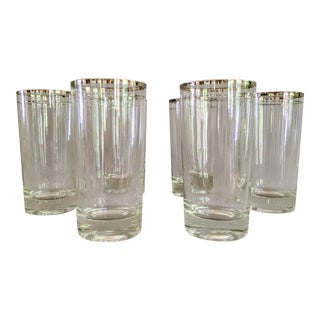1970s Platinum Rimmed Highball Glasses - Set of 6 For Sale