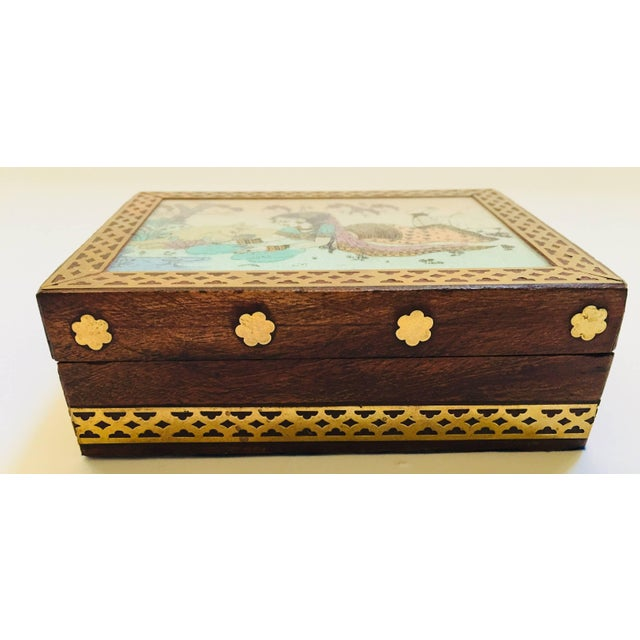 Late 20th Century Anglo-Raj Wood and Brass Box With Hand-Painted Scene For Sale - Image 5 of 10