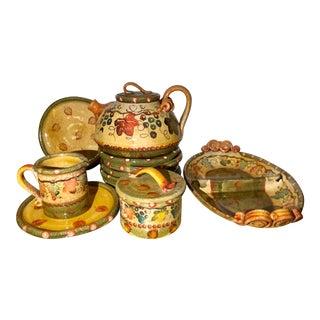 Modigliani Italian Pottery Autumn Teapot & Luncheon Set For Sale