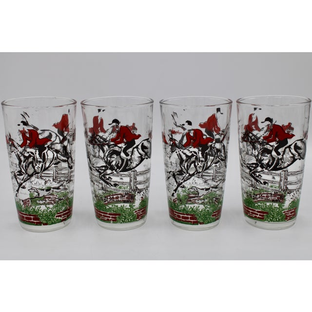 Glass 1950s English Fox Hunt High Ball Drinking Glasses - Set of Eight For Sale - Image 7 of 13