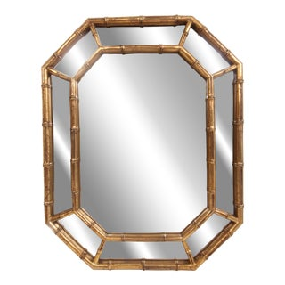 Mid Century Metallic Gold Octagon Faux Bamboo Mirror For Sale