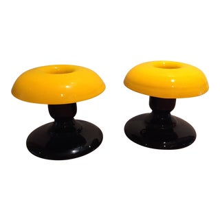 Yellow & Black Glass Candle Holders - A Pair