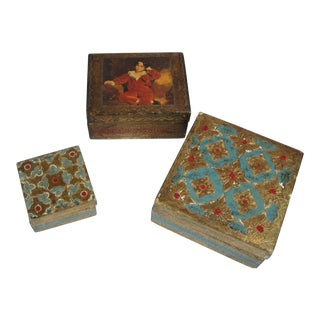 Hand Painted Florentine Boxes - Set of 3 For Sale