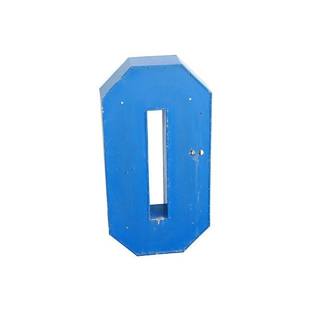"""Large 30"""" Tall Vintage Industrial Blue & White Metal Marquee Letter O For Sale - Image 4 of 6"""