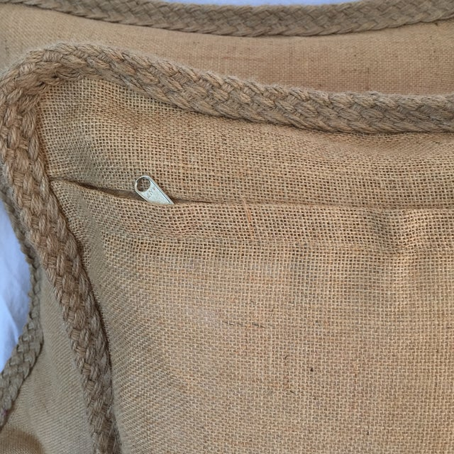 Braided Burlap Pillows - A Pair - Image 4 of 4