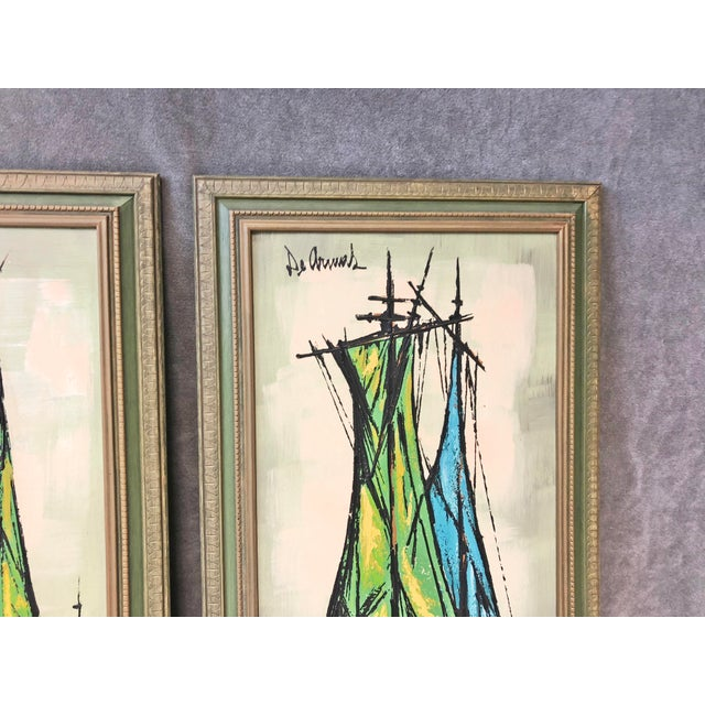 Wood Mid Century Modern Green Sailboat Signed and Framed Prints - a Pair For Sale - Image 7 of 10