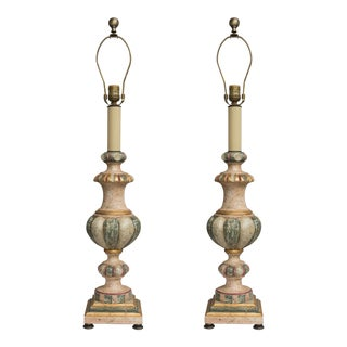Pair of Polychromed Italian Architectural Elements as Lamps For Sale