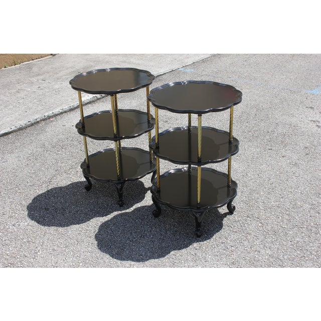 1910s Beautiful Pair of French Louis XV Ebonized Side Table Circa 1910s. For Sale - Image 5 of 13