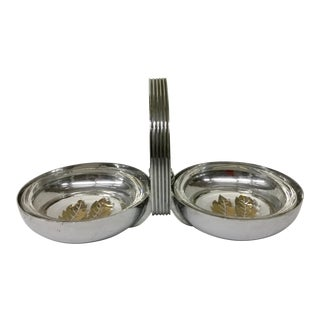 Art Deco Stainless Ashtray With Glass Inserts