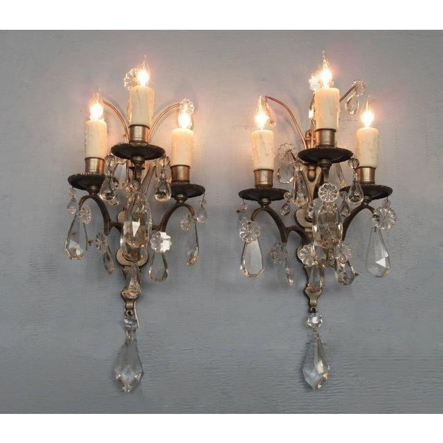 Gold Pair of Mid-19th Century Italian Baroque Silvered Bronze and Crystal Sconces For Sale - Image 8 of 8