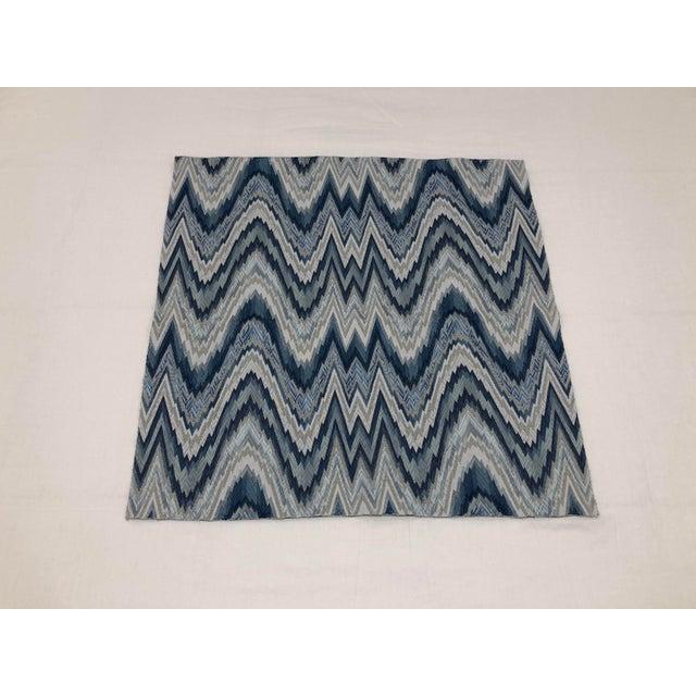 2010s Schumacher Flame Stitch Woven Delft Blue Textile For Sale - Image 5 of 5