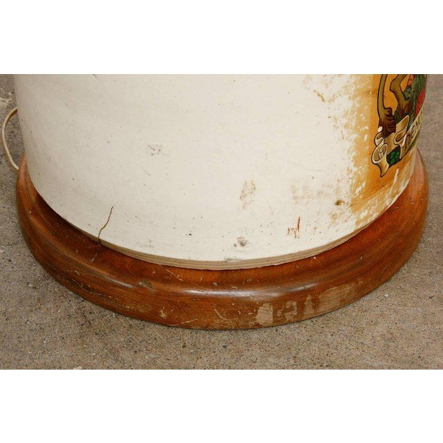 Glazed Ceramic Crock Lamp With English Royal Coat of Arms For Sale - Image 10 of 13