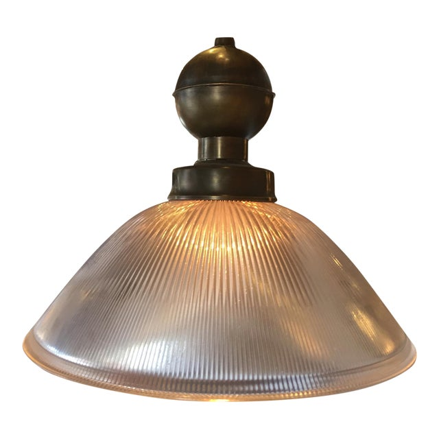 Brass & Glass Holophane Pendant For Sale