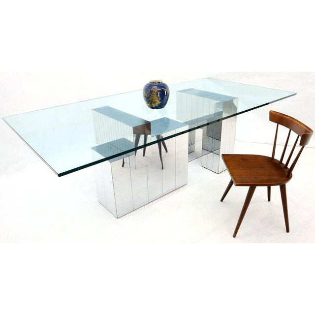Paul Evans for Directional Large Chrome Glass Top Dining Conference Table For Sale - Image 11 of 13