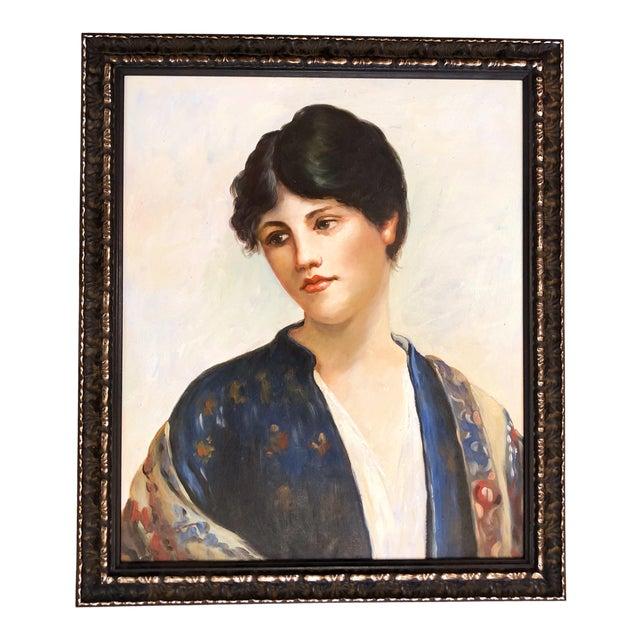 Vintage Oil Painting Portrait of a Woman For Sale