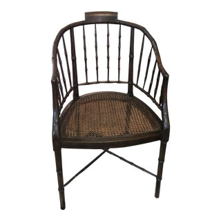 Faux Bamboo Barrel Back Cane Chair For Sale