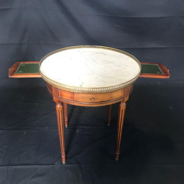 French French Louis XVI Style Marble Top and Walnut Bouillotte Side Table For Sale - Image 3 of 13