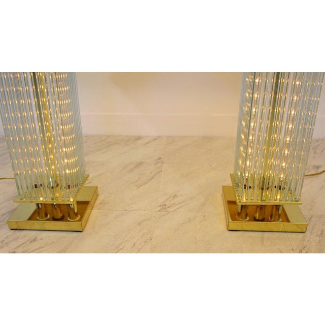 Late 20th Century Mid-Century Modern Sciolari Brass & Glass Rod Table Lamps, 1970s Italian - a Pair For Sale - Image 5 of 6