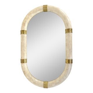 Maitland Smith Tessellated Stone Mirror With Brass Banding For Sale