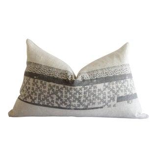 Vintage Batik and Linen Custom Lumbar Pillows For Sale