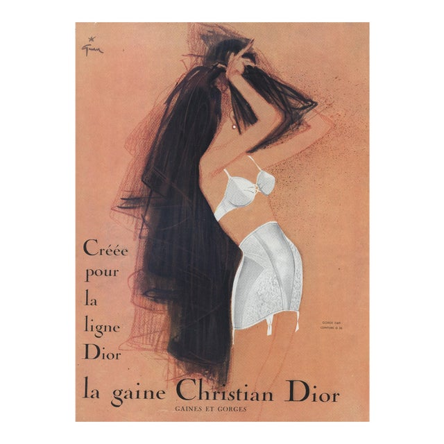 57f10d8f5 Mid-Century Christian Dior Lingerie Fashion Advertisement Print by Gruau For  Sale