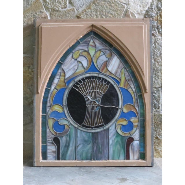 Brown Late 19th Century Vintage Wheat and Sickle Gothic Leaded Stained Glass Window For Sale - Image 8 of 8