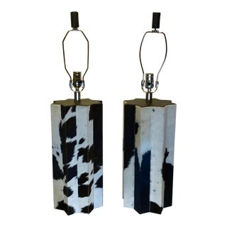 Modern Chrome and Cowhide Leather Table Lamps - a Pair