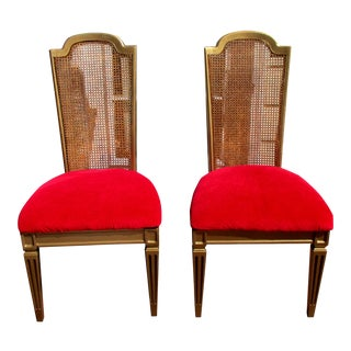 Hollywood Regency French Cane Chairs - Pair For Sale