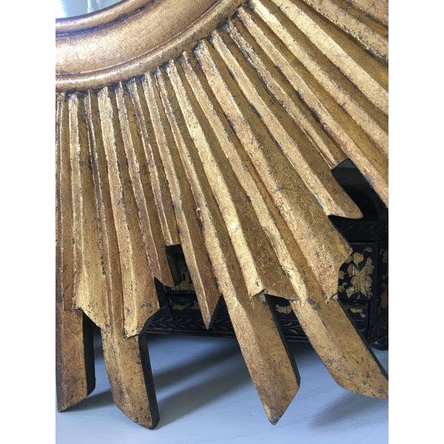 Gold Gilt Wood Sunburst Mirror For Sale - Image 8 of 13