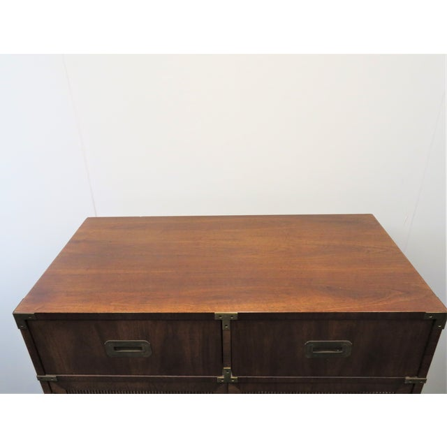 Mid Century Modern Fruitwood Campaign Chest of Drawers For Sale In Philadelphia - Image 6 of 9