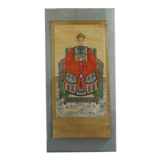 Monumental Chinese Ancestral Matriarch Scroll Portrait Painting For Sale