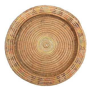 Vintage Glass Bead Handwoven African Basket Tray For Sale