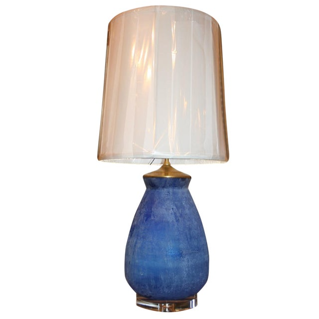 Modern Frosted Royal Blue Glass Table Lamp - Image 1 of 8