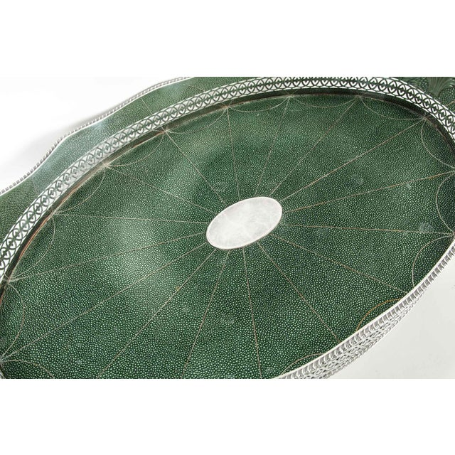 English Plated Shagreen Interior High Border Gallery Tray For Sale - Image 9 of 10