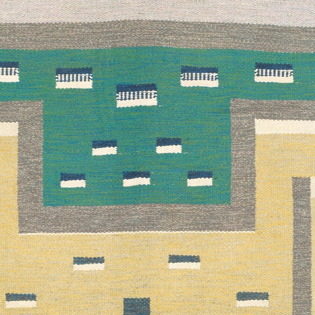 Mid-Century Modern Mid 20th Century Swedish Flat Weave Carpet by Agda Osterberg Rug- 8′11″ × 12′1″ For Sale - Image 3 of 6