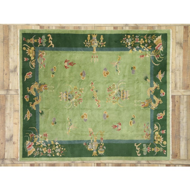 Green Green Antique Chinese Art Deco Rug - 7′8″ × 8′9″ For Sale - Image 8 of 9