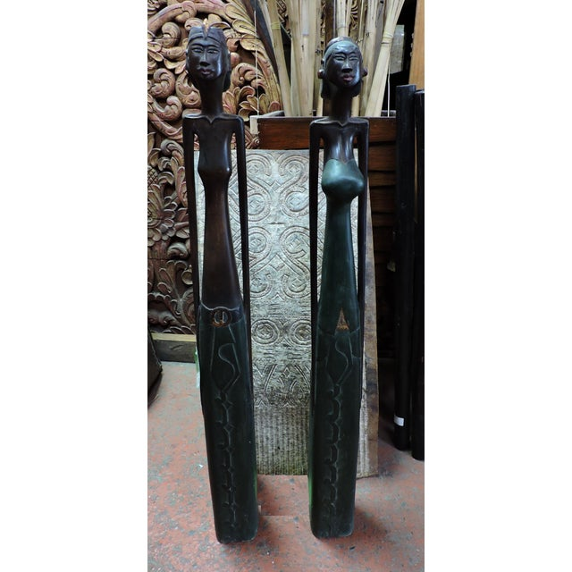 Anonymous Indonesian Carved Wooden Female and Male Figures For Sale - Image 4 of 4