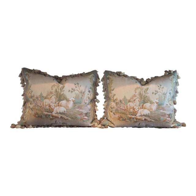 Vintage French Petti-Pointe Pillows - A Pair - Image 1 of 5