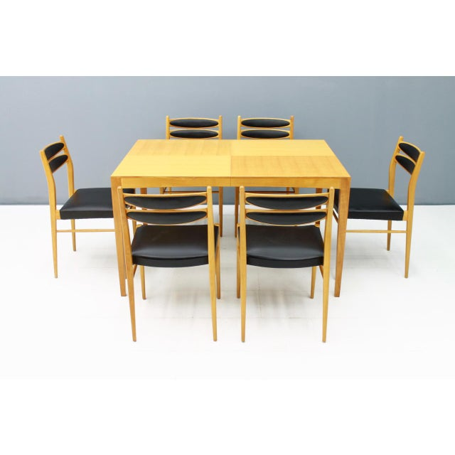 Dining Room Set With Six Chairs in Cherry Wood and Black Leather 1957 For Sale - Image 6 of 10