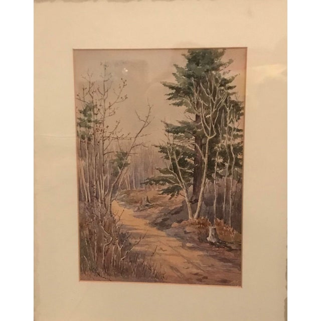 Vintage matted and framed country landscape intricate watercolor painting of a woodland path at dusk, soft balanced shades...