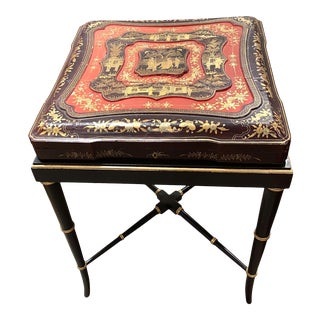 19th Century China Trade Gilt Lacquer Box Table For Sale