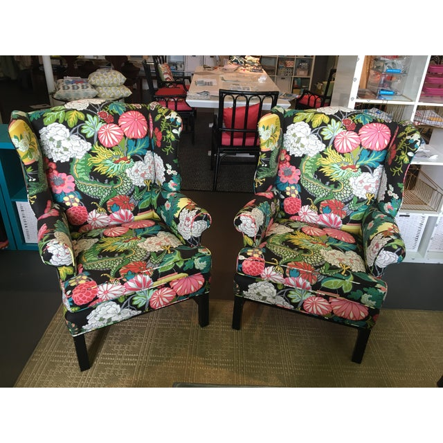 "Linen Custom Schumacher ""Chiang Mai Dragon"" Upholstered Wingback Chairs - A Pair For Sale - Image 7 of 8"