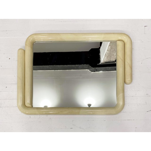 Glass Karl Springer Style Faux Goatskin Lacquered Mirror For Sale - Image 7 of 7