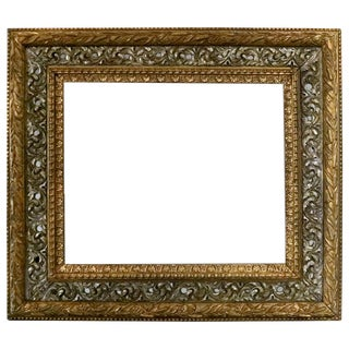 1880 Antique French 1st Finish Silver & Gold Foliate Giltwood Art Frame For Sale