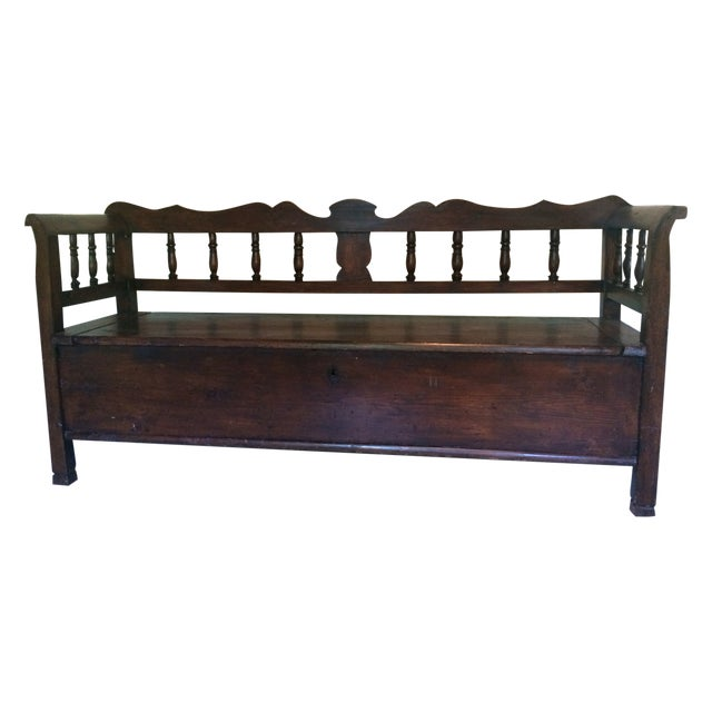 Antique European Hall Bench With Storage - Image 1 of 8