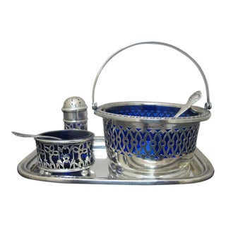 Antique Gorham & Webster Sterling Silver Blue Glass Salt Pepper Sugar & Tray Set - Set of 6 For Sale