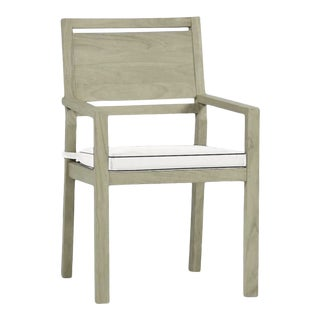 Summer Classics Avondale Teak Arm Chair in Linen Snow with Canvas Black Welt For Sale