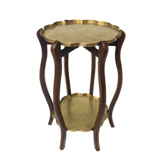 Mid Century Brass & Wood Side Table or Plant Stand