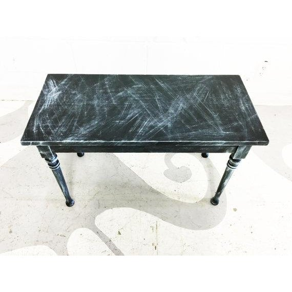 Vintage Turquoise and Black Distressed Bench - Image 3 of 6
